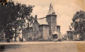WINDSOR  CONNECTICUT~TOWN HALL-COLLOTYPE PHOTO POSTCARD 1940s