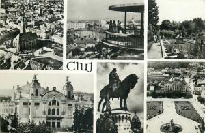 Romania Cluj multi views postcard 1960s