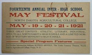 Old VTG Postcard 14th Annual Festival North Dakota Agricultural College 1921