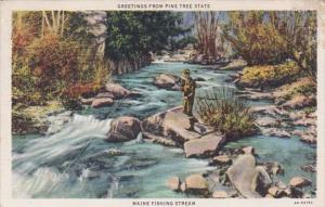 Maine Fishing Stream Greetings From The Pine Tree State 1942 Curteich