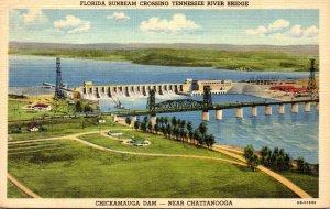 Tennessee Chattanooga Chickamauga Dam Florida Sumbeam Train Crossing Tennesse...