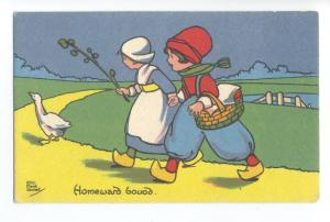ch0090 - Dutch Children - Homeward Bound - artist H Marsh Lambert - postcard