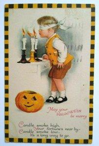 Vintage Halloween Postcard Ellen Clapsaddle Wolf Series 31 Checkered Border 1924