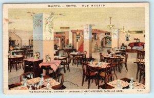 DETROIT, Michigan MI ~ Interior OLD MADRID Restaurant 1937 Linen Postcard