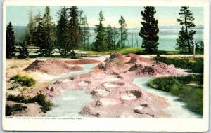 Yellowstone National Park Postcard MUD GEYSER, Yellowstone Lake c1910s Unused