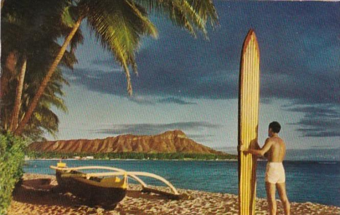 Hawaii Diamond Head Native With Surfboard and Outrigger Canoe 1957