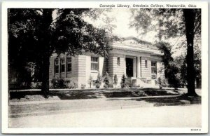 1930s Westerville, Ohio Postcard Carnegie Library, OTTERBEIN COLLEGE Curteich