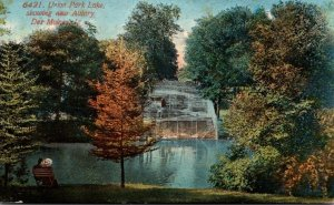 Iowa Des Moines Union Park Lake Showing New Aviary 1914