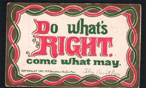 Antique Art Noveau - M.T. Sheahan Postcard Good Motto Do What's Right Come what