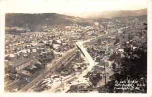 Cumberland Maryland Bird's Eye View~Bridge (National Highway Rt 40)~1930s RPPC