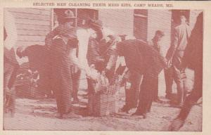 Maryland Camp Meade Selected Men Cleaning Their Mess Kits