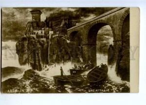 187784 Attack CASTLE in Storm by BOCKLIN Vintage PC