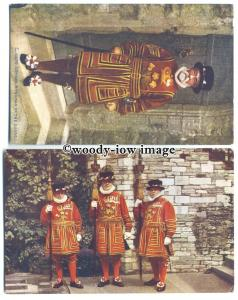 su2894 - Beefeaters, Yeoman of the Guard at the Ruddy Tower- 2 postcards