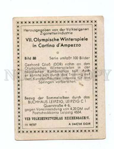 166958 VII Olympic GERHARD GLASS cross skiing CIGARETTE card