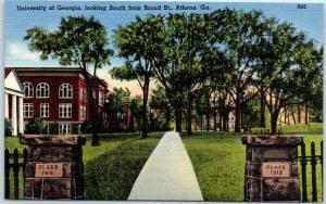 University of Georgia Postcard Campus View from Broad Street Linen c1940s Unused