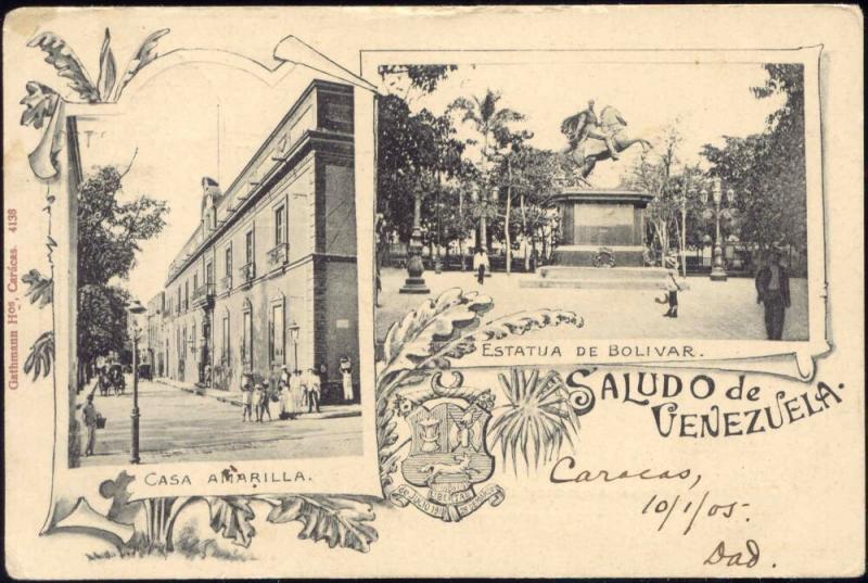 venezuela, CARACAS, Casa Amarilla, Estatua de Bolivar (1905) Stamps