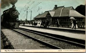 Shelby OH~Big Four Train Arrives @ RR Depot~Ladies All in White 1908 CU Williams