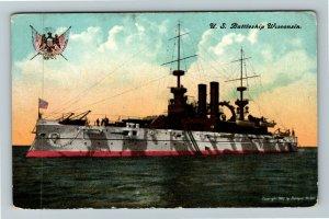 United States Navy Battleship Wisconsin Vintage Postcard