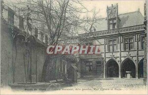 Old Postcard Musee Cluny Court of Honor Eagle Left crenelated wall and Well