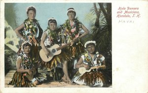 c1905 Postcard; Hula Dancers & Musicians Honolulu HI T.H. Wall Nichols & Co. Pub