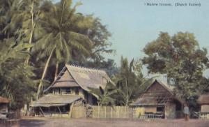 Indonesia Native Houses Dutch Indies Old Postcard