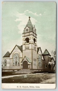 Sibley Iowa~Methodist Episcopal ME Church on Corner~Open Belfry~1910 Postcard