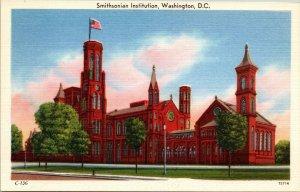 Smithsonian Institute Memorial Washington, D.C. sunset or sunrise linen postcard