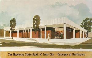 Iowa City~Hawkeye State Bank~Dubuque Street at Burlington~Artist Drawing~1965 PC