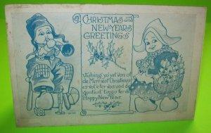 Witt Christmas & New Years Postcard Dutch Girl & Boy With Horn Vintage Original