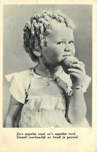 RPPC Girl in Curls: Round, Red Apples Taste Delicious, Keep You Healthy 1930