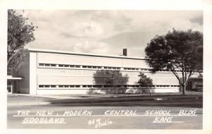 Goodland KS New Art Deco Modern Central School~Leisure Life Isn't Hard RPPC 1951