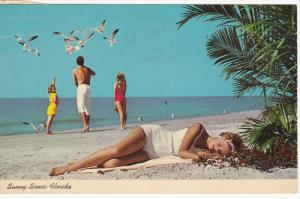 Pin-up Girl sleeping on beach ,  50-60s
