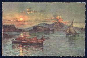 Vesuvius Nite Fishing Boats Naples by Carelli unused c1940's