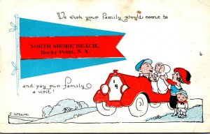 New York Rocky Point North Shore Beach Family In Car 1912 Pennant Series