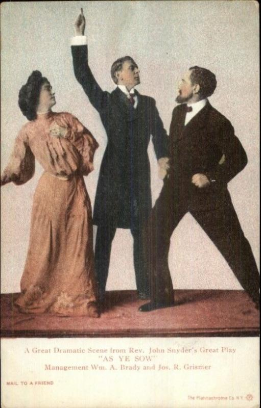 Theatre Acting - Rev. John Snyder's Play AS YE SOW c1905 Postcard