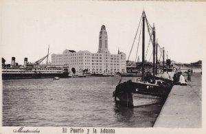 El Puerto Y La Aduana Fishing Boats Montevideo Uruguay Real Photo Postcard
