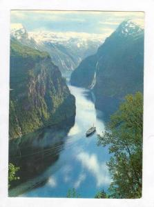 Ship in Geiranger Fjord w/ Seven Sisters Falls, Norway 1940-70s