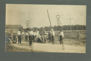 Colby WISCONSIN RPPC c1910 CAR ACCIDENT Roll Over nr Abbotsford Spencer Owen
