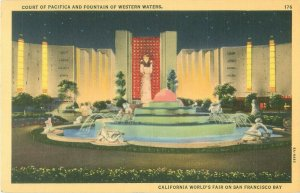 San Francisco CA Expo Court of Pacifica & Fountains of Western Waters Postcard
