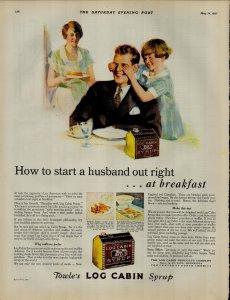 1927 Log Cabbin Syrup Little Girl Covering Dad Eyes Vintage Print Ad 3885