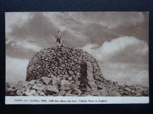 Cumbria The LAke District CAIRN ON SCAFELL PIKE - Old Postcard by Kirk