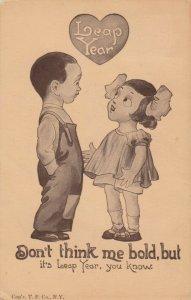 LEAP YEAR, PU-1912; Little girl proposing to taller boy