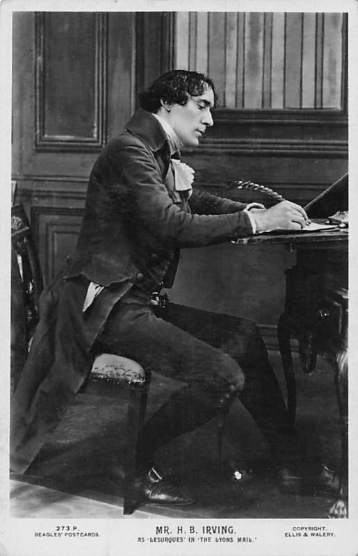 Mr. H.B. Irving Writing as Lesurques in The Lyons Mail Edwardian Actor