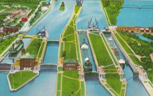 Michigan Saulte Ste Marie Aerial View Of Soo Locks