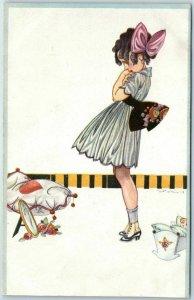 1920 Artist-Signed HAHN Postcard Girl / PINK Hair Ribbon / Mirror Flower Germany