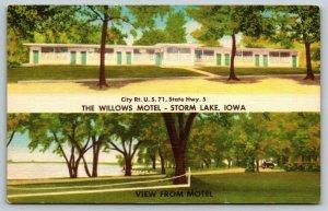 Storm Lake Iowa~Badminton Net Needs Set Up~Willows Motel~Roadside Linen~1940s