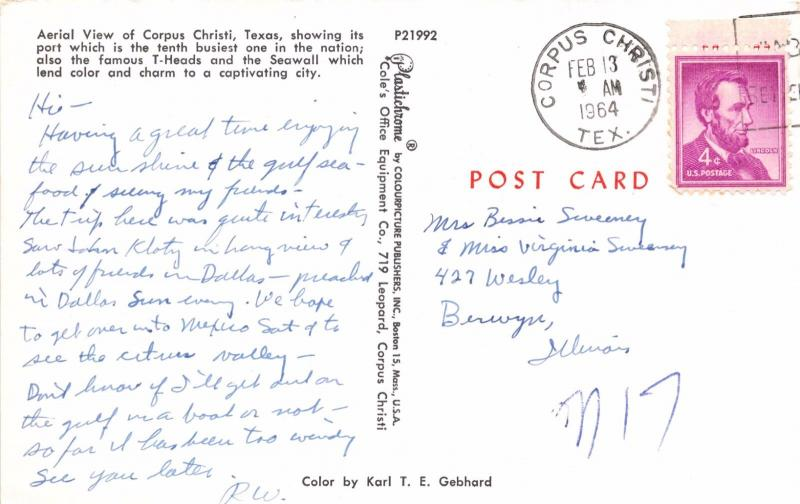 CORPUS CHRISTI TEXAS SEAWALL~T-HEADS~PORT AERIAL VIEW  POSTCARD 1964 PSTMK