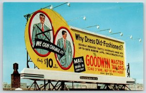 New York City~Goodwin Master Tailors~Close Up Billboard~Change Suit $10~1950s PC