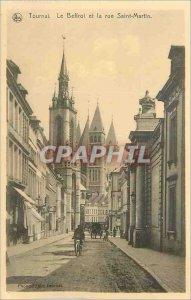 Old Postcard Tournai Belfry and Rue Saint Martin