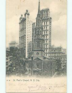 Pre-1907 very early view - ST. PAUL'S CHURCH New York City NY n5956